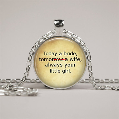 Father of The Bride Wedding ,Glass Cabochon Tibet silver Pendant Chain Necklace
