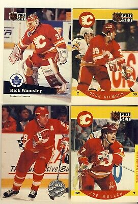 1990 & 1991 Pro Set Calgary Flames Nhl Hockey Cards With Gilmour & Otto 4 Cards