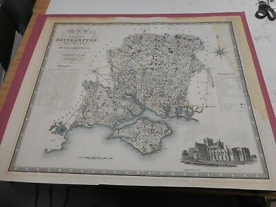 100% Original Large Hampshire Map By Greenwood C1834 Hand Coloured