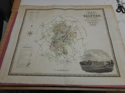 100% Original Large Bedfordshire Map By Greenwood C1834 Hand Coloured