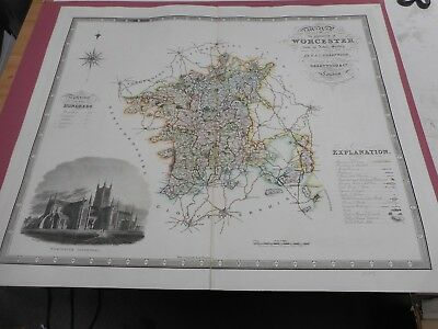 100% Original Large Worcestershire Map By Greenwood C1834 Hand Coloured