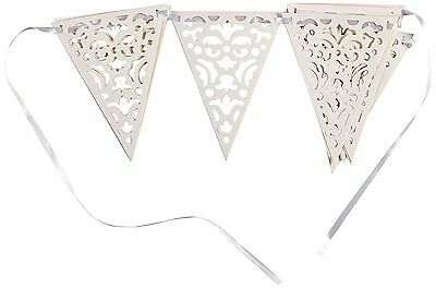 White Lace Pennant Flag Bunting 15 Pennants 10.9ft Long - Parties - New & Sealed