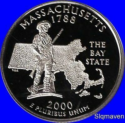 2000 S Clad Massachusetts State Quarter Deep Cameo Gem Proof No Reserve