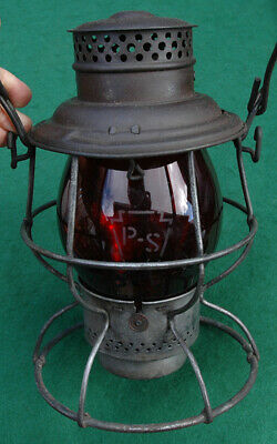 Vintage Adlake Pennsylvania Lines Acid Etched Tall Red Globe Conductor's Lantern