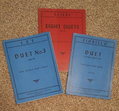 VIOLIN/CELLO DUETS SHEET Music Fiorillo, Lee, Gliere