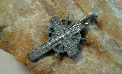 "ANTIQUE c.16-18th CENT. SOLID SILVER SMALL ""OLD BELIEVERS"" ORTHODOX ""SUN"" CROSS"