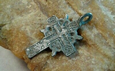 "ANTIQUE SOLID SILVER SMALL ""OLD BELIEVERS"" ORTHODOX ""SUN"" CROSS c.16-18th CENT."