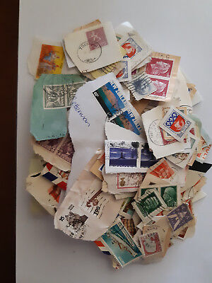 Bulk lot world stamps on paper, used