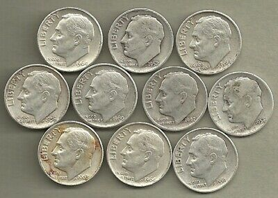Roosevelt Dimes - US 90% Silver Coin Lot - 10 Circulated Coins #4154