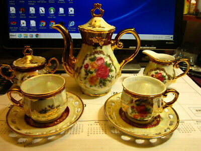 Vintage Empress By Ymm Gold Trim 9 Pc Tea Set