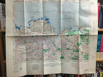 WW II, Aeronautical Chart Lannion to St Malo, France, Mint condition 32x28 inche