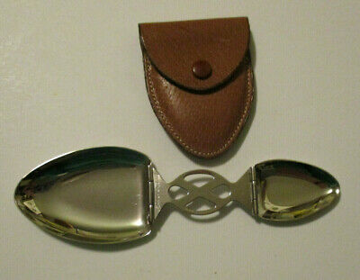 Antique FOLDING MEDICINE SPOON w Leather Case MADE IN ENGLAND Vintage