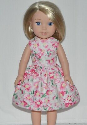White Spring Floral Doll Dress Clothes Fits American Girl Wellie Wisher Dolls