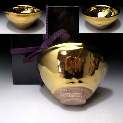 PE3: Japanese Tenmoku Tea Bowl, Kyo Ware with wooden box, Gorgeous Gold glaze