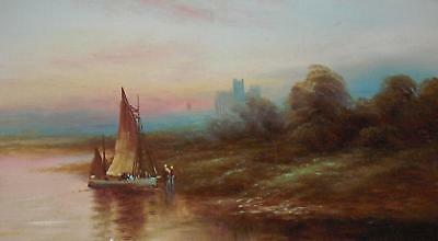 Fisherfolk Offloading a Yacht Antique Oil Painting Unsigned c1910/20s British Sc