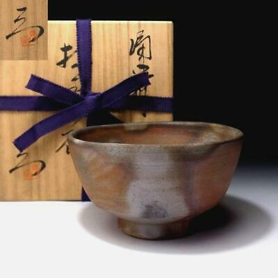NG2: Vintage Japanese Pottery Tea bowl, Bizen ware with Signed wooden box
