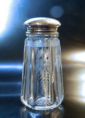 STERLING Top Engraved SUGAR Shaker Sifter MUFFINEER Floral Cut Vintage 1920s
