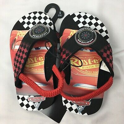 4840dc5c9b3b DISNEY CARS LIGHTNING McQueen Toddler Boy s Flip Flops Sandals Size ...