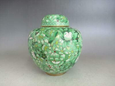 Chinese vintage Cloisonne tea caddy Chaire/ nice flower design/ 8318