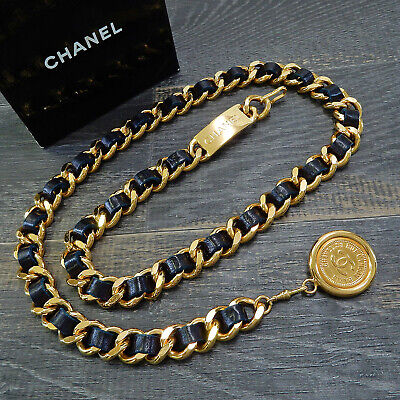 578bca34d1de CHANEL Gold Plated Dark Navy Leather CC Logos Vintage Chain Belt #4236a  Rise-on