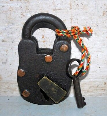 Old Indian Antique Iron Brass Hand Crafted PadLock With Key Working Condition