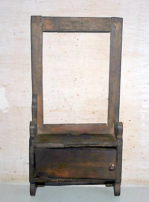 Old Indian Antique Wooden Hand Crafted Dressing Mirror Frame With Drawer 1900's