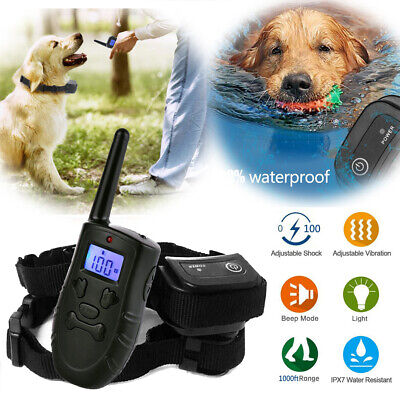 Anti Bark LCD Dog Training Shock Collar Waterproof Rechargeable Remote Control