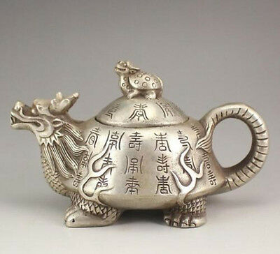 Collectible Decorated Old Handwork Tibet Silver Carved dragon turtle Tea Pot