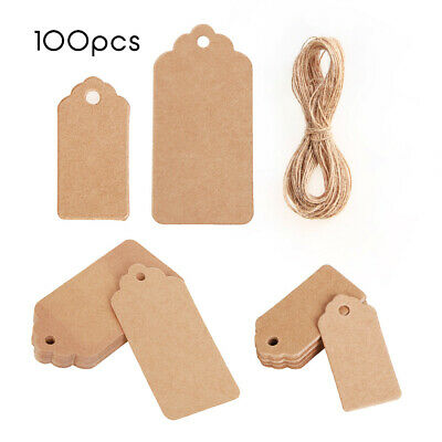 100pcs Christmas Kraft Paper Price Wedding Scallop Label Blank Luggage Gift Tags