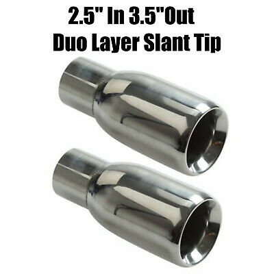 """2PCS Sliver Exhaust Duo Layer Slant Tip Polished Stainless Steel 2.5/"""" In 3.5/""""Out"""