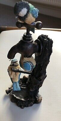 Bowbrook Studios Hand Made Bronze Resin Sculpture Blue Tits On Tap
