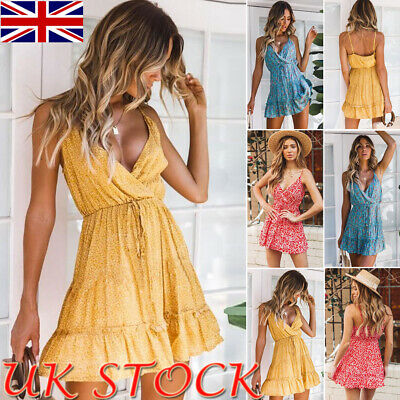 UK Womens Summer Beach Strappy Dress Boho Floral V-neck Sundress Holiday Clothes
