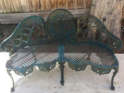 CAST IRON VINTAGE ORNATE OUTDOOR GARDEN BENCH LOVE SEAT CHAIR ( Very Heavy )