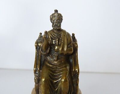 ANTIQUE Finely CAST BRASS St SAINT PETER on THRONE Figure STATUETTE Icon ITALY