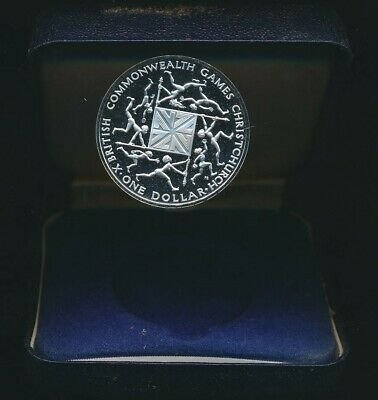 New Zealand: 1974 $1 Commonwealth Games .84oz Silver   Proof