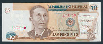 "Philippines: 1992 10 Piso RARE LOW SERIAL NUMBER ""E 000010"". Pick 169d"