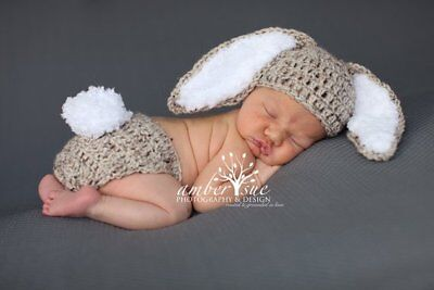 Crochet Baby LongEared  Bunny  Hat  and Diaper Cover Photo Shoot Prop 0-3 months
