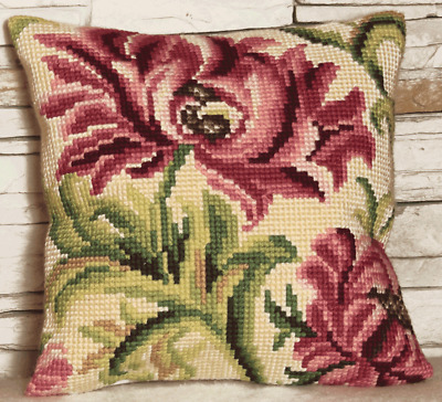 Collection D'Art CD5010 Wild Rode 2 Cushion Front Printed Cross Stitch Kit 40cm