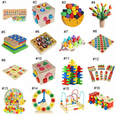 Baby Toddler Wood Puzzle Geometry Blocks Learning Educational Kids Wooden Toys