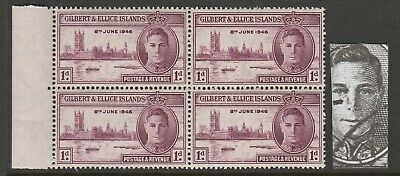 Gilbert and Ellice 1946 Victory 1d with 'Spot on nose' R 5/1 SG 55 Mnh.