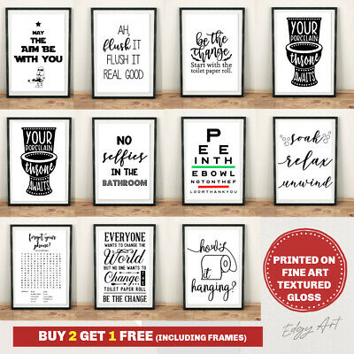 Bathroom Prints Wall Art Poster. Quality Toilet Funny Home Pictures Un / Framed