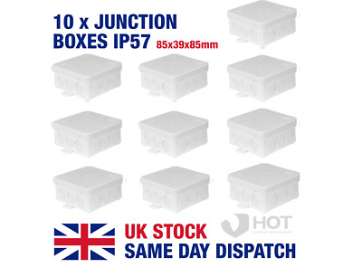 10 x Waterproof IP54 Junction Boxes 85x39x85mm