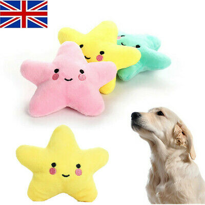 Pet Dog Puppy Star Chew Toy Squeaker Squeaky Soft Plush Play Sound Toys UK