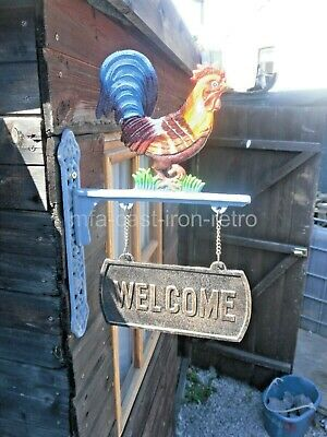 Cast Iron Cockerel Welcome Sign