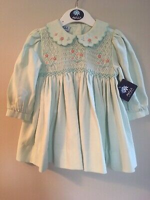 Abella New Baby Dress 6 Months Soft Green with Smocking