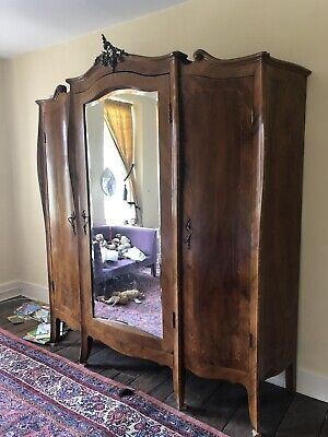 Large Armoire Antique Wardrobe French Wooden mirrored cupboard