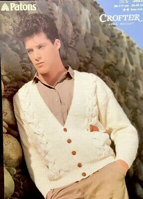 Patons Knitting Pattern For Men's Cardigan. To Fit 34-46 Inch Chest
