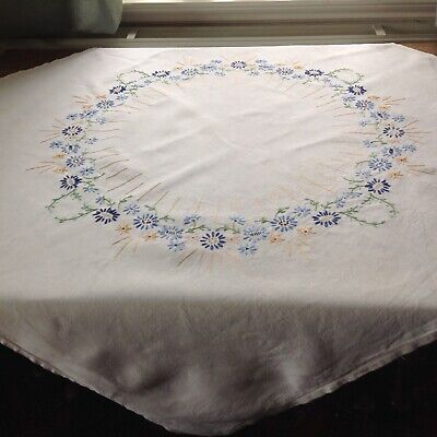 """Vintage linen 42"""" square embroidered tablecloth"""