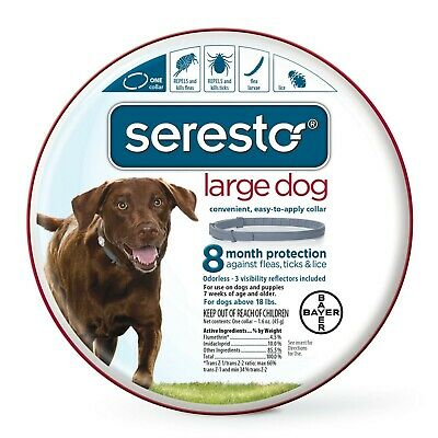 New Bayer Seresto Flea and Tick Collar for Large Dogs, Gray above 8kg (18 lbs)
