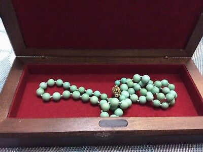 """Vintage,chinese Light Green Turquoise Beaded Necklace With Gold Plated Clasp 25"""""""